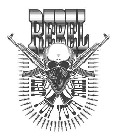 Vintage monochrome illustration of skull with bandana and crossed rifles ak 47. Isolated vector template
