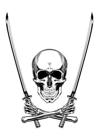Vintage monochrome illustration of skull with crossed arms and japanese swords . Isolated vector template