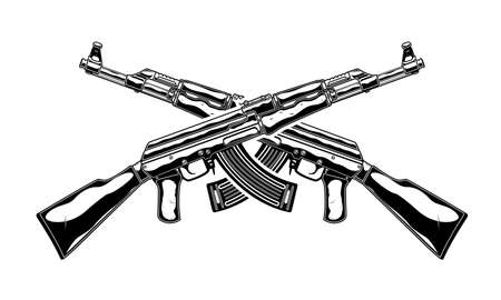 Monochrome detailed illustration of crossed   assault rifle. Isolated vector template