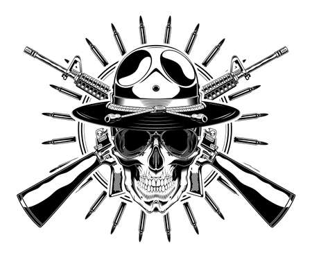 Monochrome skull with police headdress, sunglasses and crossed rifles illustration. Isolated vector template Иллюстрация