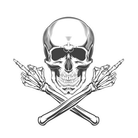 Monochrome illustration of skull and crossed bony hands with a raised middle finger. Isolated vector template