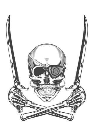 Monochrome illustration of skull with mustache and eye patch and crossed bony hands with sabers. Isolated vector template Фото со стока - 157174946