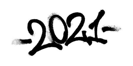 Sprayed 2021 tag graffiti with overspray in black over white. Vector illustration.