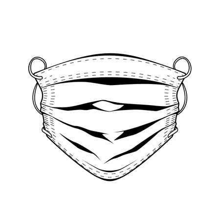 Protective mask monochrome illustration. Isolated vector template