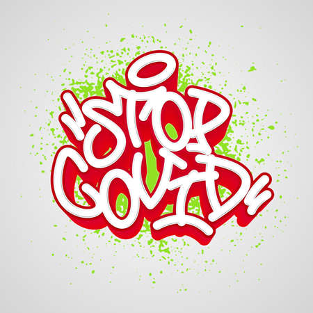 Stop covid. Graffiti tag template for your design. Vector illustration. Фото со стока - 157561790
