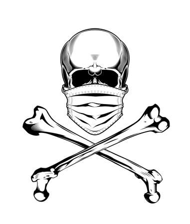 Vintage monochrome skull in protective mask and crossbones isolated vector illustration