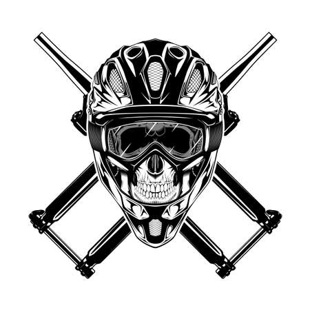 Monochrome illustration of skull with helmet, mask and crossed forks. Isolated vector template Фото со стока - 157561788