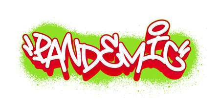 Pandemic. Graffiti tag template for your design. Vector illustration. Фото со стока - 157561792