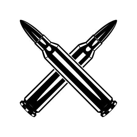 Monochrome crossed cartridge for machine gun illustrations. Isolated vector template 向量圖像