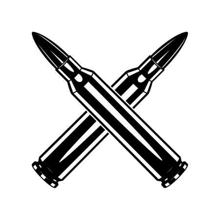 Monochrome crossed cartridge for machine gun illustrations. Isolated vector template Иллюстрация