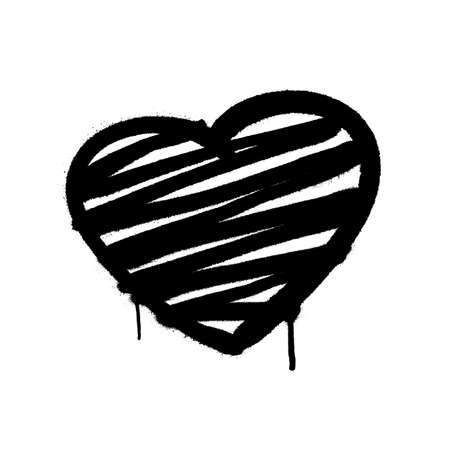 Heart graffiti spray banner. Graphic spray paint frame on transparent background Иллюстрация