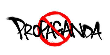 Crossed sprayed propaganda font graffiti with overspray in black over white. Vector illustration. Фото со стока - 158222124