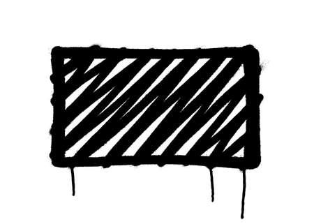 Rectangle graffiti spray banner. Graphic spray paint frame on transparent background Иллюстрация
