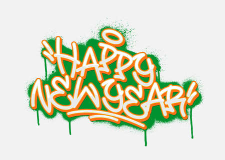 Happy new year graffiti tag. Vector illustration. Фото со стока - 158497771