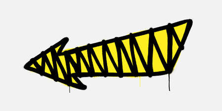 Graffiti arrow directed to the left with drips of paint. Vector illustration Фото со стока - 158498181