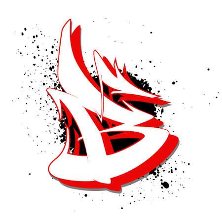 Graffiti alphabet. Letter B against a background of spray paint. Vector illustration