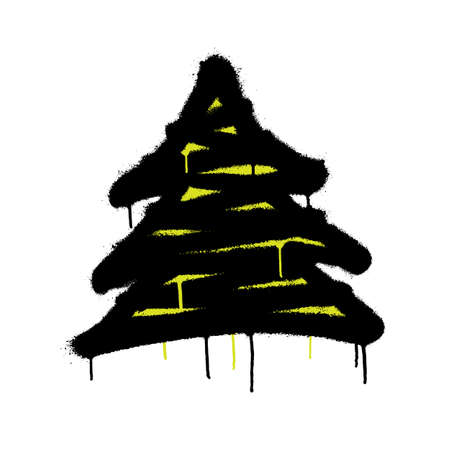 Sprayed christmas tree with overspray in black over white. Vector illustration.