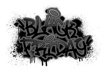 Black friday in graffiti style with overspray in black over white. Vector illustration.
