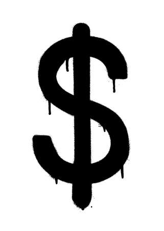 Sprayed dollar icon with overspray in black over white. Graffiti vector illustration. Illustration