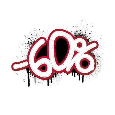 Graffiti lettering discount -60 percent. Vector template on white background Иллюстрация