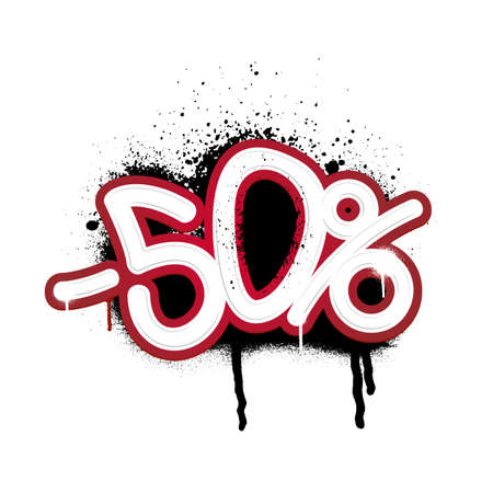 Graffiti lettering discount -50 percent. Vector template on white background