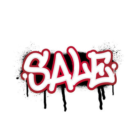 Discount inscription in graffiti style. Vector template on white background Иллюстрация