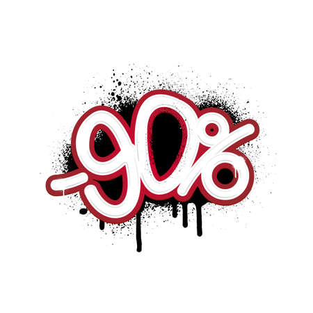 Graffiti lettering discount -90 percent. Vector template on white background