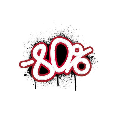 Graffiti lettering discount -80 percent. Vector template on white background