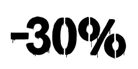 Graffiti discount made by stencil -30 percent. Vector template on white background