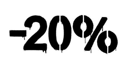 Graffiti discount made by stencil -20 percent. Vector template on white background