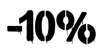 Graffiti discount made by stencil -10 percent. Vector template on white background Иллюстрация