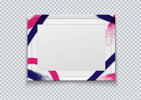 Realistic white photo frame painted with graffiti paint on a transparent background. Vector illustration. Иллюстрация