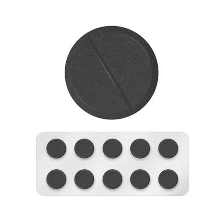 Blister packs of activated carbon tablets on transparent background. Vector illustration with shadow