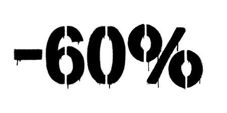 Graffiti discount made by stencil -60 percent. Vector template on white background