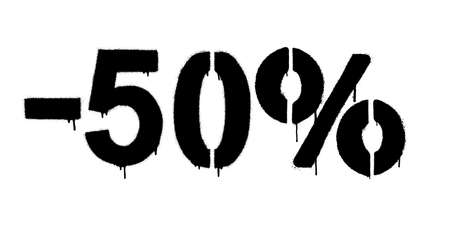 Graffiti discount made by stencil -50 percent. Vector template on white background