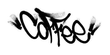 Coffee. Sprayed lettering made in black paint on a white background. Vector illustration of graffiti art.