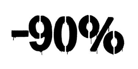 Graffiti discount made by stencil -90 percent. Vector template on white background