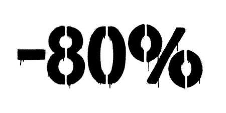 Graffiti discount made by stencil -80 percent. Vector template on white background