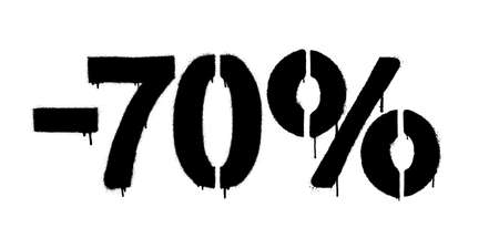 Graffiti discount made by stencil -70 percent. Vector template on white background