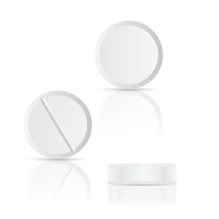 White round pills on white background. Vector illustration with shadow and reflect Иллюстрация