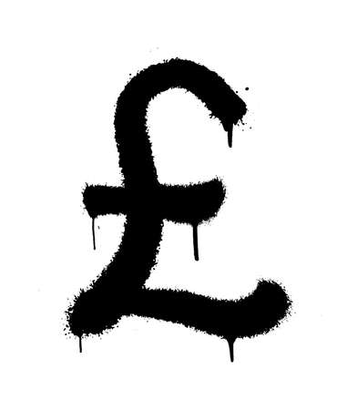 Sprayed pound icon with overspray in black over white. Graffiti vector illustration.
