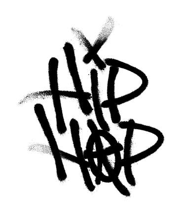 Sprayed hip hop font with overspray in black over white. Vector illustration.