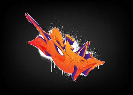Bright abstract graffiti on a black background. Vector illustration