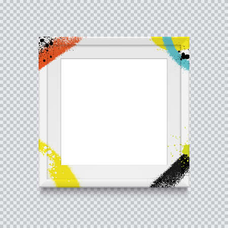 Realistic white square photo frame painted with graffiti paint on a transparent background. Vector illustration.