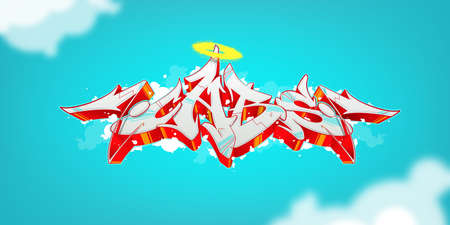 Bright abstract graffiti on a juicy background. Vector illustration Иллюстрация