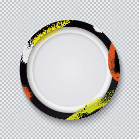 Realistic black circle photo frame painted with graffiti paint on a transparent background. Vector illustration. Иллюстрация