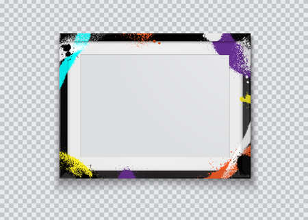 Realistic black photo frame painted with graffiti paint on a transparent background. Vector illustration. Иллюстрация