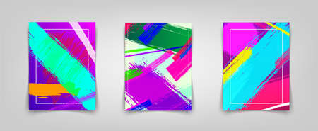 Three colorful posters with paint strokes. Vector illustration Иллюстрация