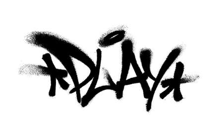 Sprayed play font graffiti with over spray in black over white. Vector illustration. Иллюстрация