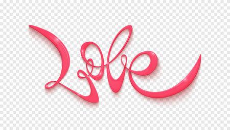 Love handwritten lettering. Vector blank on transparent background
